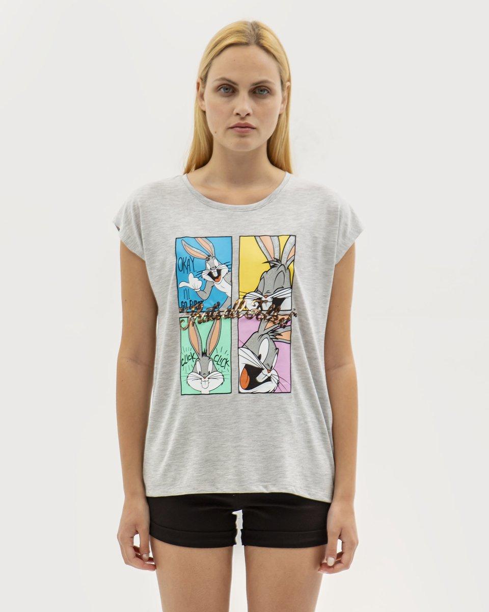 """Γυναικείο Κοντομάνικο T-Shirt """"Bunny"""" Γκρι Μελανζέ"""