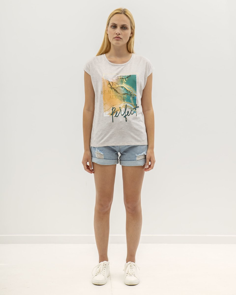 """Picture of Womens' Short Sleeve T-Shirt """"Perfect"""" in Beige Melange"""
