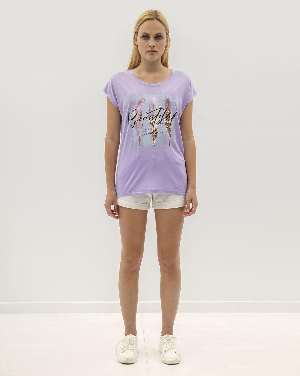 """Γυναικείο T-Shirt Κοντομάνικο """"Jula"""" Λιλά"""