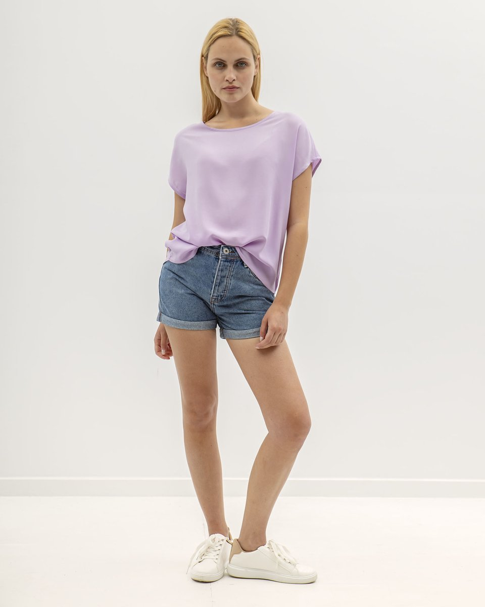 """Picture of Women's Short Sleeve Blouse """"Farina"""" in Lavender"""
