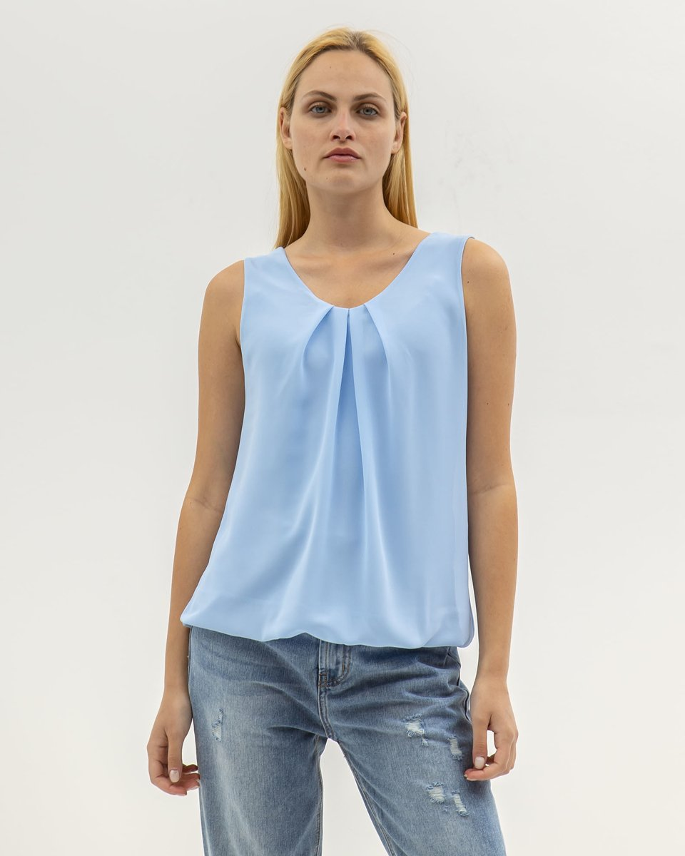 """Picture of Women's Sleeveless Top """"Elena"""" in Blue Light"""