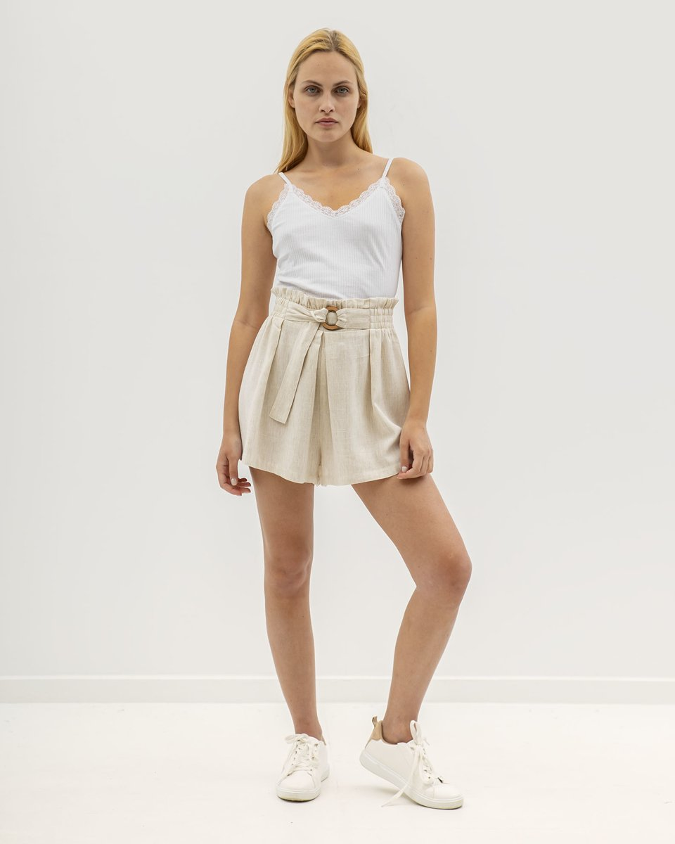 "Picture of Women's Paperbag Bermuda-shorts ""Arin"" in Beige"