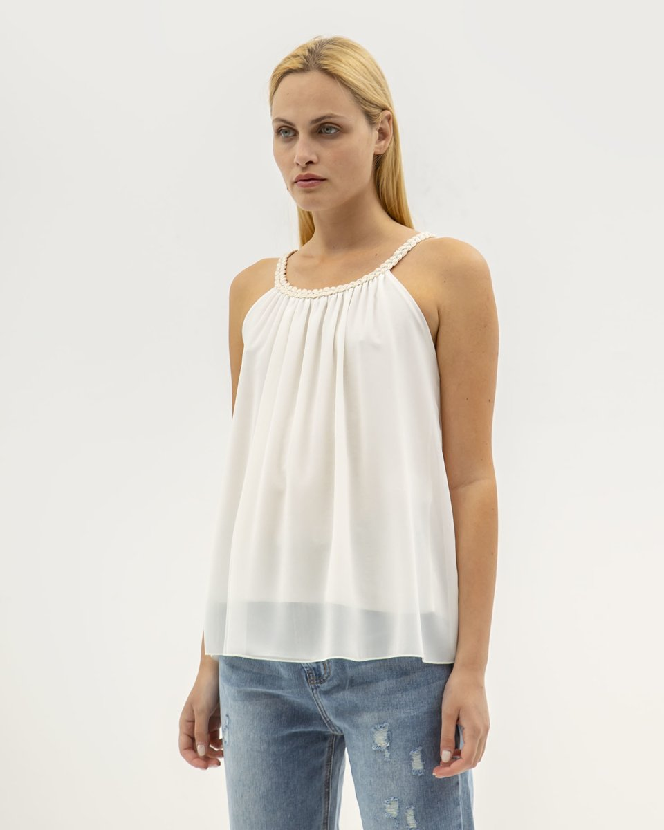 "Picture of Women's Sleeveless Top ""Mina"" in Off-White"