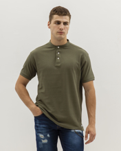 Picture of Men's Piqué Polo Shirt with Stand-up Collar in Khaki
