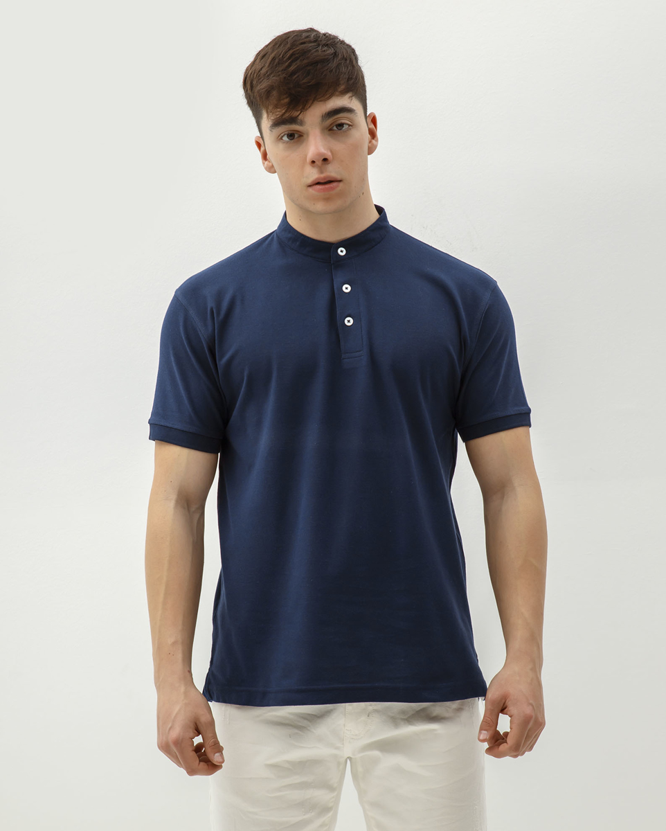 Picture of Men's Piqué Polo Shirt with Stand-up Collar in Blue Navy