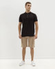 Picture of Men's Piqué Polo Shirt with Stand-up Collar in Black