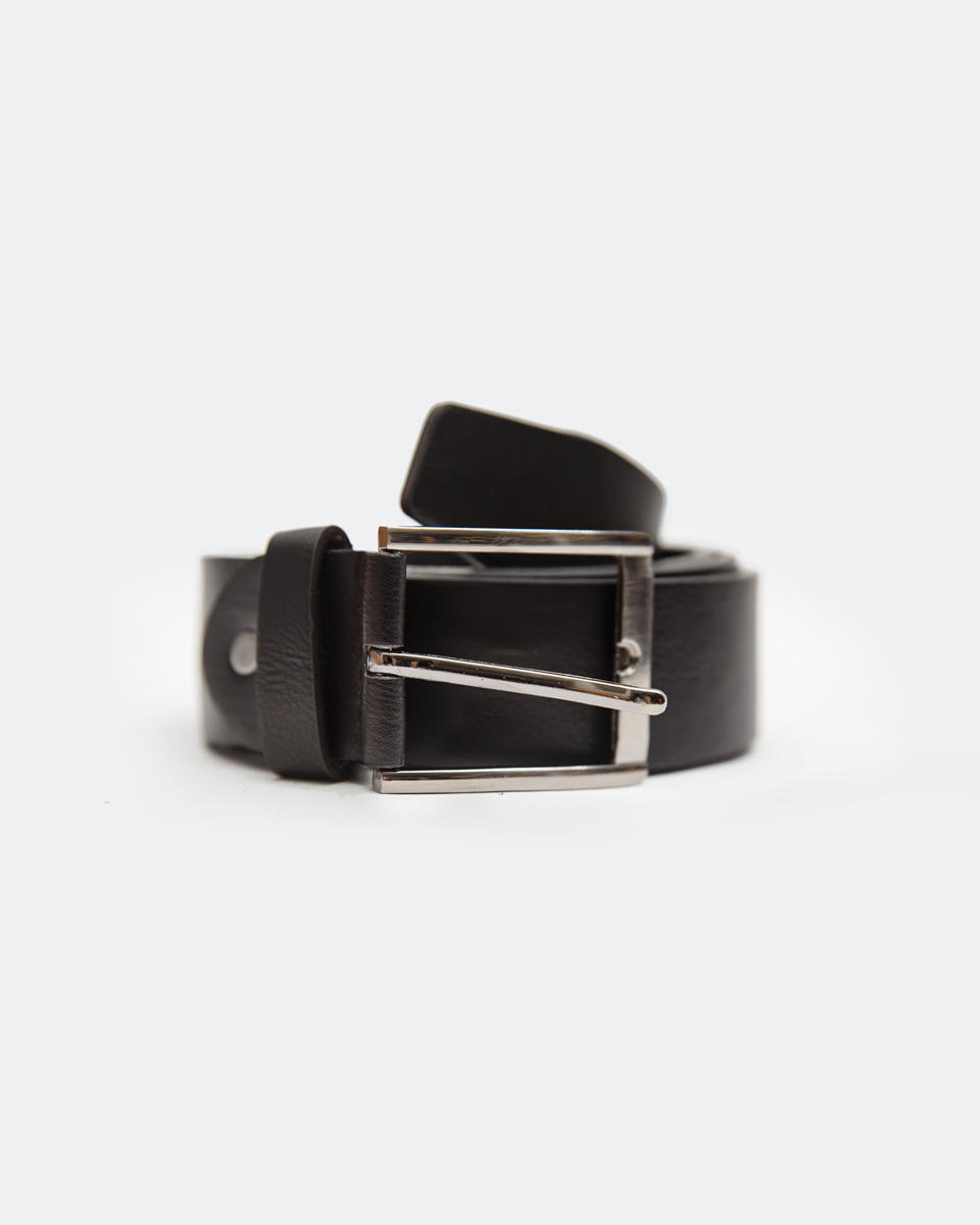 """Picture of Men's Faux Leather Belt with a Metal Buckle """"F-A612"""" in Black"""