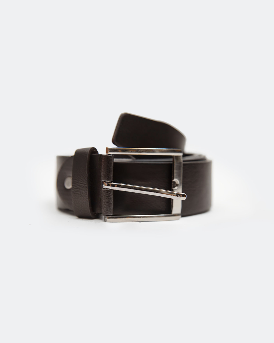 """Picture of Men's Faux Leather Belt with a Metal Buckle """"F-A612"""" in Brown"""