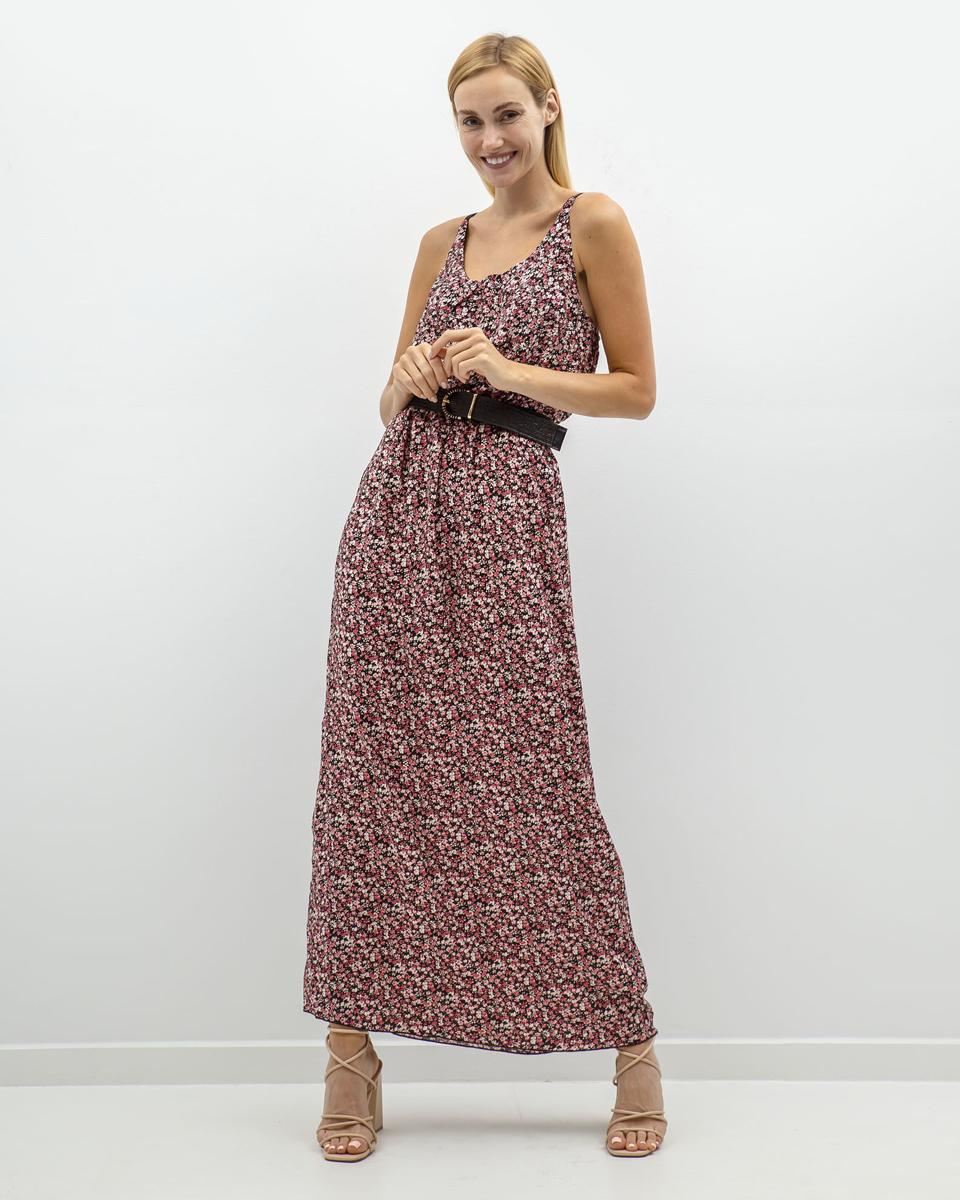 """Μάξι Φόρεμα Εμπριμέ """"Doris"""" Μαύρο"""