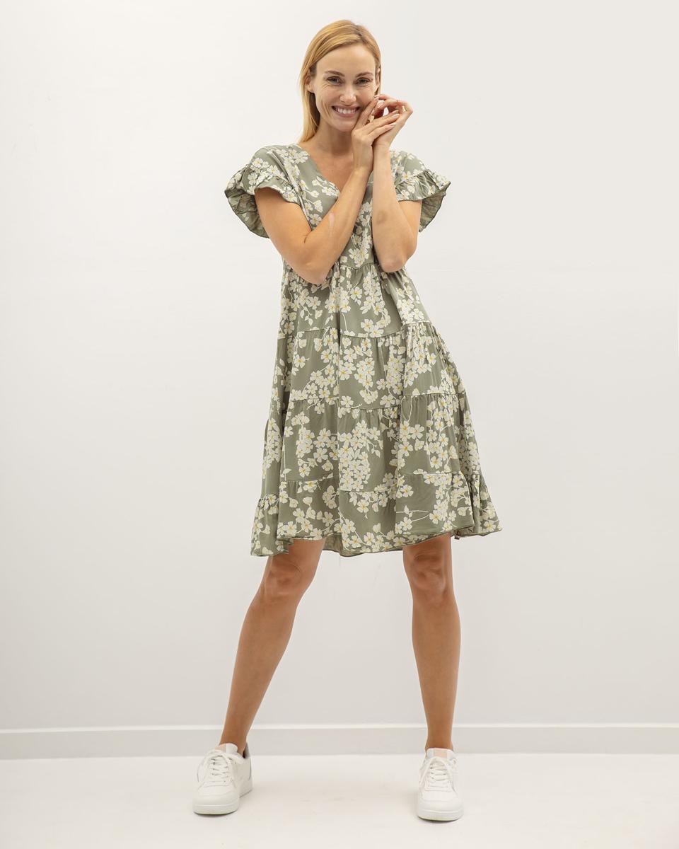 "Picture of Mini Short Sleeve Dress ""Jolene"" in Khaki"