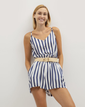"""Picture of Striped Jumpsuit Shorts """"Hanna"""" in Blue Stripe"""