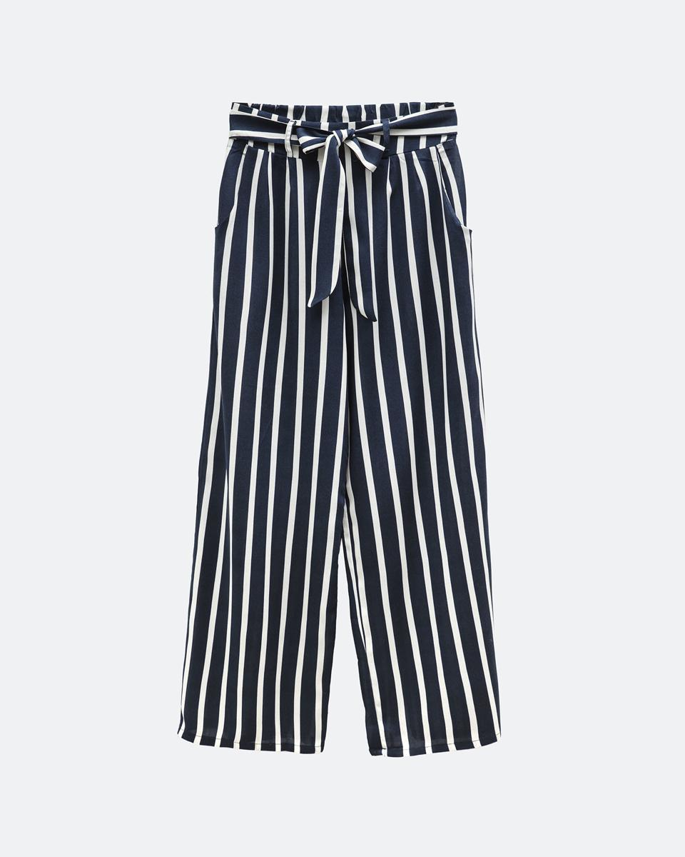"""Γυναικεία Παντελόνα 3/4 """"Cira"""" Μπλε Σκούρο Ριγέ"""