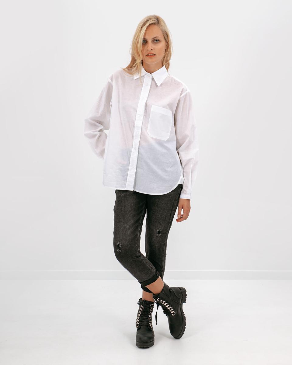"""Γυναικείο Πουκάμισο Oversized """"Brooke"""" σε Λευκό Χρώμα - Style"""