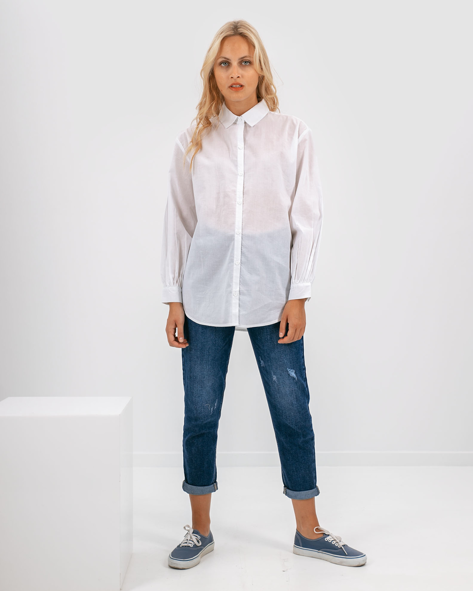"""Picture of Women's Collared Shirt """"Alma"""" White - Style"""