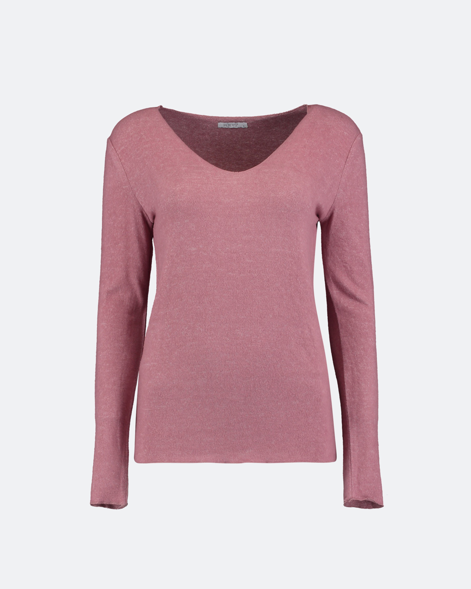"""Picture of Women's V-Neck Knit Sweater """"Zina"""" in Faded Blush"""