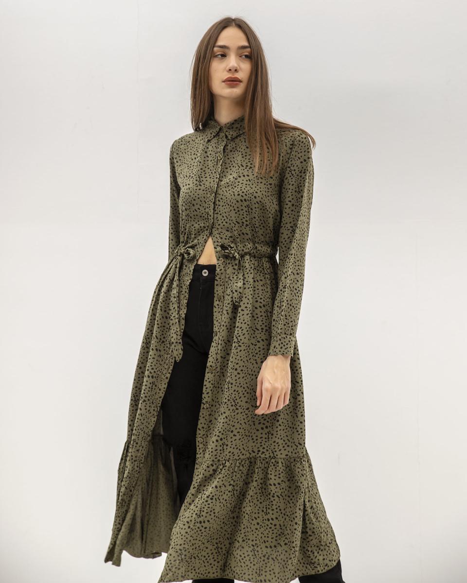 """Μάξι Φόρεμα Μακρυμάνικο """"Lea"""" Χακί Animal Print"""