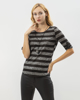 """Picture of Women's Striped 3/4 Sleeve Top """"Elle"""" in Black"""